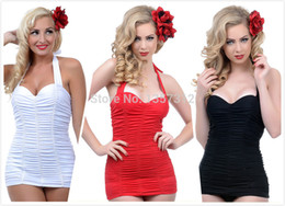 Wholesale-vintage 4 color Sexy Ruched halter One Piece Swimsuit Bathing Suit Monroe Swim Dress Beach swimwear Plus size S-3XL