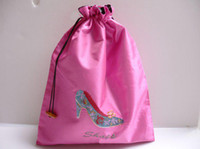 Wholesale Two Layer Travel Shoe Bags Fabric Embroidered Drawstring pack Mix Color inch