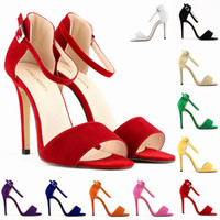 Cheap Wholesale-LADY SEXY PARTY OPEN TOE BRIDAL Flock HIGH HEELS SHOES SANDALS US SIZE 4-11 10 color 102-2VE
