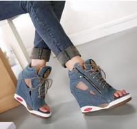 al por mayor nuevas cuñas señoras de la llegada-Al por mayor-Freeshipping primavera y verano de la nueva llegada del tacón alto sandalias de la cuña de la plataforma de señora Fashion Shoes pantalones vaqueros de diseño Cuñas B018