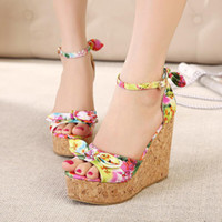 Cheap Wholesale-2015 New design Summer Countryside Women Wedge sandals Elegant Fashion Casual Bowtie Print Purple Red women pumps