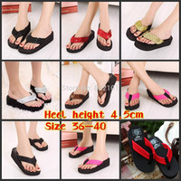 Cheap Wholesale-New Summer fashion casual women's wedge sandals gril's beach slippers Flip Flops size 36-40 black red rose