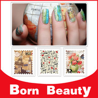nail tattoo sticker - Postage Stamp Transferable Water Nail Stickers sheets Flowers Tattoo Nail Art Transfer Decals Nail Wraps Decorations Tools
