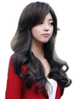 Wholesale Cool2day Cute Sexy Long Brown Human Made Lady Curly Wave Girl s Full Wig JF010022