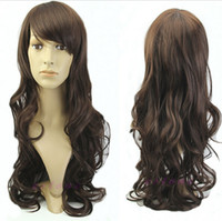 Cheap Wholesale-Hot Sale Harajuku 80cm Heat Resistant Wig Young Bang Long Synthetic Blonde 14 Colors Straight Cosplay Anime Wigs Party wig