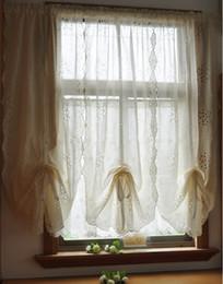 Скидка белье панельные шторы Оптово-1 Панель белые вишни Hollow Вышитые имитировали крест Linen Balloon занавес 100% ручной работы Резные готовой занавески