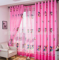 Wholesale new arrival cartoon curtains for living room of children kids tulle pink blue minnie mouse for girls blinds curtains window
