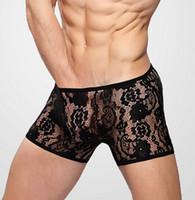 sexy pants for men - mens lace panties XXL mesh hipster boxer shorts underwear trunk transparent cuecas undies for Sexy lingerie gay men s pants