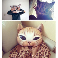 Wholesale Cute Cat pillowcase Personality Car Cushion Cover Creative Handsome Cat shape Nap pillow Cover Cute seat cushion
