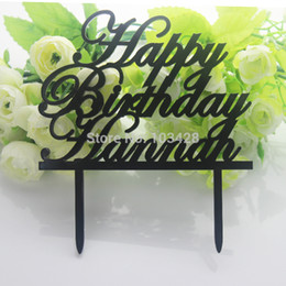 Wholesale Personalized Happy Birthday Name Cake Topper Acrylic Initial Cake Topper Colors Birthday Cake Banner inch only
