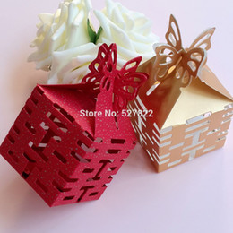 Wholesale-100PCS Double Happiness Candy Boxes Gift Boxes Wedding Party Favors Box Red Gold Free Shipping