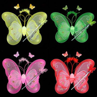 Wholesale Led Braid Hairpin Decoration Hallowen Butterfly Fairy Wings Magic Wand for Children Colors Mixorder Children s Day Gigt