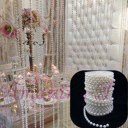 Wholesale M FT Pure White mm ABS Plastic Faux Pearl String Strands Bead Romantic Wedding Party Garland Decoration