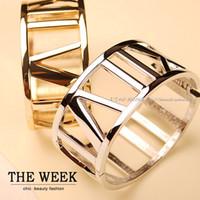 Wholesale Fashion Normic Vintage Cutout Roman Numerals Wide Bracelet Hand Ring Gold and Silver K Bracelets amp Bangles