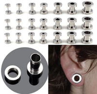 Wholesale mix sizes stainless steel screw ear plug flesh tunnel piercings body jewelry BB37
