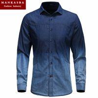 acid denim shirt - Men s Fashion Slim Fit Casual Acid washes Gradient Blue Denim Shirt Men Long sleeve shirts Freeshipping Camisas Manga