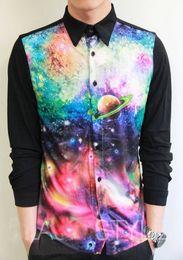 Wholesale-DM D-dragon Harajuku Fashion Universe Stars printed Slim fit mens shirts Casual-shirts Clothing men shirt long sleeve