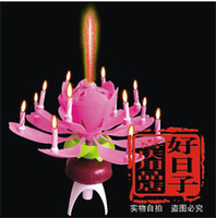 Wholesale Lotus Rotatable Birthday Double deck Sparkling Flower Music Candles Crafts Candles