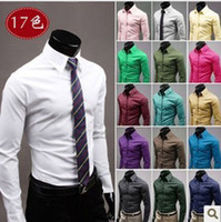 Cheap Wholesale-2015 high quality solid color cheap mens dress shirts fashion candy color silk shirts for men long sleeve shirt