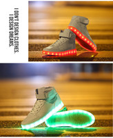 Cheap Wholesale-New Brand Unisex Men Women Fashion 7 Colors LED Lighted Shoes Lace Up High-top Casual Sneakers Lover's Tide shoes
