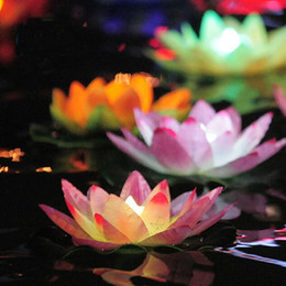 Wholesale Lotus Flowers Water - Wholesale-2015 Easter Colorful Paper Lotus Lamp Floating Candles Purple Lanterns Wedding Wishing Water Flower Candle Decoration Wholesale