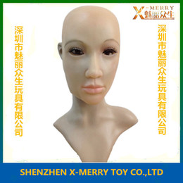 Wholesale X MERRY party cosplay sexy masquerade female latex mask full face big eye men dressed as women masks mascara de cavalo