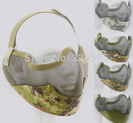 Wholesale Tactics Half face metal net mesh protect mask airsoft hunting Military Multicam colors