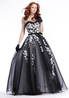 Wholesale 2011 Prom Dress C1343 Strapless Black white Tulle Floor Length Evening Homecoming Dresses