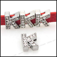 Wholesale Letter K Charms Beads Alloy with White Rhinestones mm Fit mm Band Bracelet