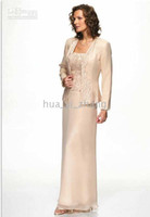 Wholesale Sheath Scoop Neckline Sequins chiffon and Embroidery With Jacket Chiffon Dress for Mother of the Bride M
