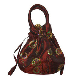 Sequins embroidery Tote Purse Satin Fabric Large Gift Bag Drawstring Candy Lavender dried flowers Storage Pouch Wrist Coin Cell Phone Wallet
