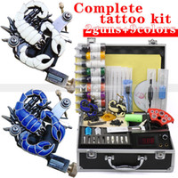 Cheap Wholesale-Hot Wholesale 2 Guns Professional Embossed Tattoo Machine Kit 9 Colors 30ml Inks Power Tips needles Supply Tattoos set Equipment