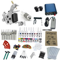 Cheap Wholesale-Complete Professional body Tattoo Equipment Machine Power Supply Gun Color Inks Pro cheap Tattoo Kit Tattoo Kits For Beginners