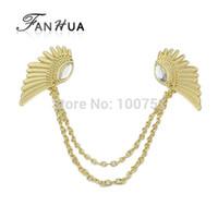 Wholesale Hot Sale Vintage Alloy Antique Light Gold Color Rhinestone Wing Tie Clip For Women