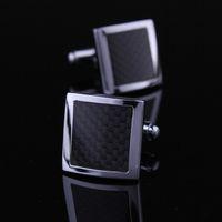 Wholesale Black carbon fiber cufflinks cufflinks shirt cufflinks cuff men s genuine foreign