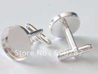 Wholesale freeshipping high quality sterling silver cufflink base cufflink blank cufflink setting choose size mm