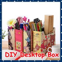 Al por mayor [FORREST SHOP] Oficina linda del papel DIY Organizador de escritorio caja / Cosmética Escritorio Caja de almacenamiento / titular de la pluma (12 pedazos / porción) NIF-29