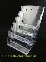 acrylic pamphlet holders - Plastic Acrylic Brochure Literature Clear A5 Tiers Pamphlet Display Holder Racks Stand To Insert Leaflet