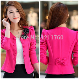 Wholesale-new 2015 spring women's o-neck blazer double breasted blazer red slim short jacket trench Three Quarter suits plus size M-XXXL