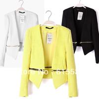 Cheap Wholesale-Zip-Off Blazer Women Jacket UK Boucle Tweed Wool Women's Casual Cardigan Coat Business Suits Lemon Black White S M L