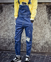 Wholesale Men s Fashion Hole Ripped Denim Overalls Slim Dungarees Jeans Casual Prepply Style Bib Pencil Pant