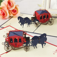 Wholesale The Horse with Carriage Handmade Creative D Pop UP Greeting amp Gift Cards set of