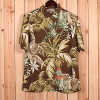 Cheap Wholesale-america brand authentic casual silk fabric short sleeve mens floral shirt S M L XXL free shipping