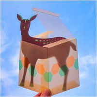Cheap Wholesale-Free Shipping! vintage Pendant folded Cute deer card with Hazy box 10pcs set Postcard Gift birthday card greeting card