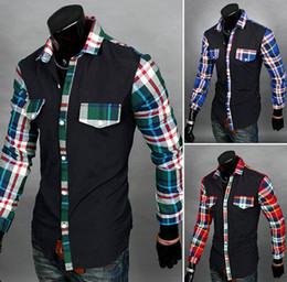 Wholesale-New Brand Men's Shirts Casual movement Man Blouse Fashion plaid Stitching Design Men Clothes Blusinhas Camisa Masculina