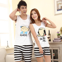 Wholesale New summer cute cartoon couple Sleep Lounge sleeveless pajamas for women and men Pajama Sets lovers sleepwear woman pijama G0122