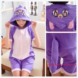 Wholesale-100% Cotton Sailor Moon Diana Luna Cat Anime Animal Cartoon Women Men Female Summer Onesie Cosplay Pajamas with Hood Ears Tails
