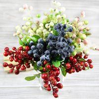 artificial blueberries - color Decorative Blueberry Fruit Berry Artificial Flower Silk Flowers Fruits For Wedding Home Decoration Silk Plants