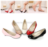 Cheap Wholesale-New 5 Color Women Patent Leather Pumps Lady Wedges Office Pumps Nurse Wedges Shoes High Heels Sandals Red Wedding Wedges Shoes