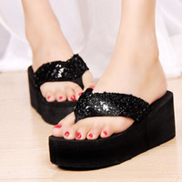 Cheap Wholesale-2015 Summer Sequins Beach Flip Flops Slippers Female Platform Plywood Sandals Women's Wedges Shoes Women Flip-Flops